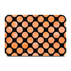 Circles2 Black Marble & Orange Watercolor (r) Plate Mats by trendistuff