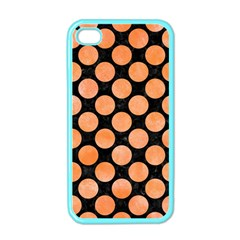 Circles2 Black Marble & Orange Watercolor (r) Apple Iphone 4 Case (color) by trendistuff