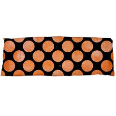 Circles2 Black Marble & Orange Watercolor (r) Body Pillow Case Dakimakura (two Sides) by trendistuff