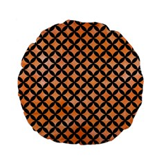 Circles3 Black Marble & Orange Watercolor Standard 15  Premium Flano Round Cushions by trendistuff