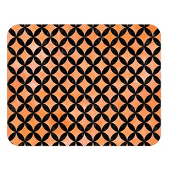 Circles3 Black Marble & Orange Watercolor Double Sided Flano Blanket (large)  by trendistuff
