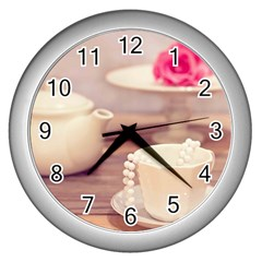 High Tea, Shabby Chic Wall Clocks (silver)  by 8fugoso