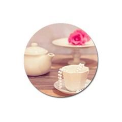 High Tea, Shabby Chic Magnet 3  (round) by 8fugoso