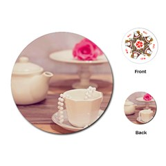 High Tea, Shabby Chic Playing Cards (round)  by 8fugoso