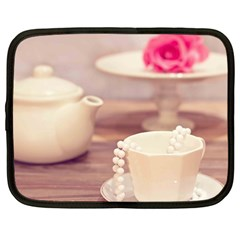 High Tea, Shabby Chic Netbook Case (large) by 8fugoso