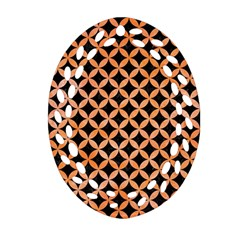 Circles3 Black Marble & Orange Watercolor (r) Oval Filigree Ornament (two Sides) by trendistuff
