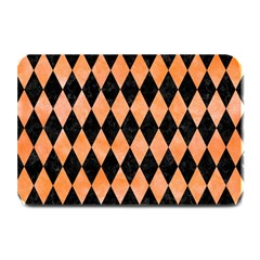 Diamond1 Black Marble & Orange Watercolor Plate Mats by trendistuff