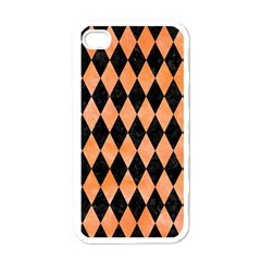 Diamond1 Black Marble & Orange Watercolor Apple Iphone 4 Case (white) by trendistuff