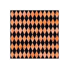 Diamond1 Black Marble & Orange Watercolor Acrylic Tangram Puzzle (4  X 4 ) by trendistuff