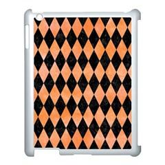 Diamond1 Black Marble & Orange Watercolor Apple Ipad 3/4 Case (white) by trendistuff