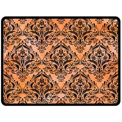 Damask1 Black Marble & Orange Watercolor Fleece Blanket (large)  by trendistuff