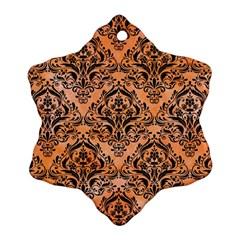 Damask1 Black Marble & Orange Watercolor Snowflake Ornament (two Sides)