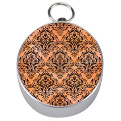 Damask1 Black Marble & Orange Watercolor Silver Compasses by trendistuff