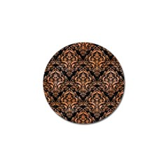 Damask1 Black Marble & Orange Watercolor (r) Golf Ball Marker (4 Pack) by trendistuff
