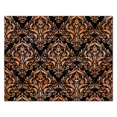 Damask1 Black Marble & Orange Watercolor (r) Rectangular Jigsaw Puzzl by trendistuff