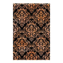 Damask1 Black Marble & Orange Watercolor (r) Shower Curtain 48  X 72  (small)  by trendistuff