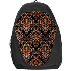 Damask1 Black Marble & Orange Watercolor (r) Backpack Bag by trendistuff