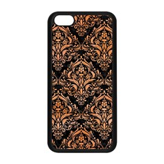 Damask1 Black Marble & Orange Watercolor (r) Apple Iphone 5c Seamless Case (black) by trendistuff