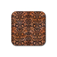 Damask2 Black Marble & Orange Watercolor Rubber Square Coaster (4 Pack)  by trendistuff