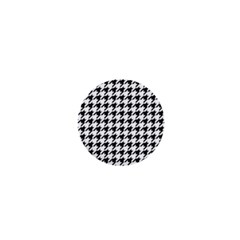 Classic Vintage Black And White Houndstooth Pattern 1  Mini Button by Beachlux