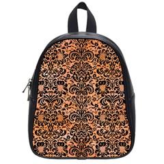 Damask2 Black Marble & Orange Watercolor School Bag (small) by trendistuff