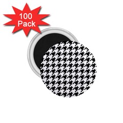 Classic Vintage Black And White Houndstooth Pattern 1 75  Magnet (100 Pack)  by Beachlux