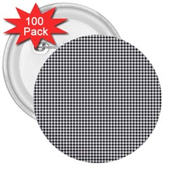 Classic Vintage Black And White Houndstooth Pattern 3  Button (100 Pack) by Beachlux