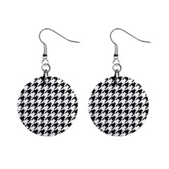 Classic Vintage Black And White Houndstooth Pattern 1  Button Earrings by Beachlux