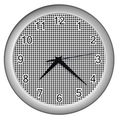 Classic Vintage Black And White Houndstooth Pattern Wall Clock (silver) by Beachlux