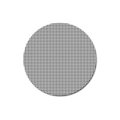 Classic Vintage Black And White Houndstooth Pattern Magnet 3  (round) by Beachlux