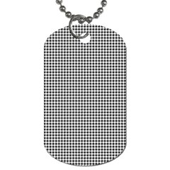 Classic Vintage Black And White Houndstooth Pattern Dog Tag (two Sides) by Beachlux
