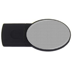 Classic Vintage Black And White Houndstooth Pattern Usb Flash Drive Oval (4 Gb) by Beachlux