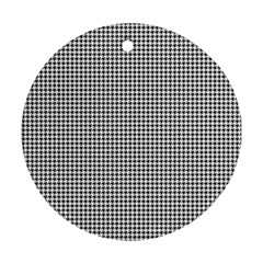Classic Vintage Black And White Houndstooth Pattern Round Ornament (two Sides) by Beachlux