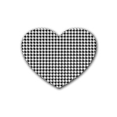 Classic Vintage Black And White Houndstooth Pattern Rubber Heart Coaster (4 Pack) by Beachlux