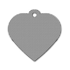 Classic Vintage Black And White Houndstooth Pattern Dog Tag Heart (one Side) by Beachlux