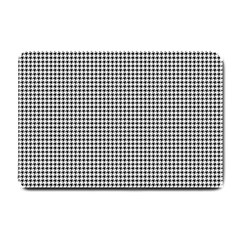 Classic Vintage Black And White Houndstooth Pattern Small Doormat by Beachlux