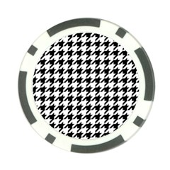 Classic Vintage Black And White Houndstooth Pattern Poker Chip Card Guard by Beachlux