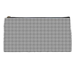 Classic Vintage Black And White Houndstooth Pattern Pencil Case by Beachlux