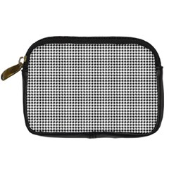 Classic Vintage Black And White Houndstooth Pattern Digital Camera Leather Case by Beachlux