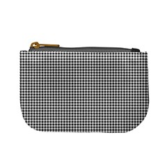 Classic Vintage Black And White Houndstooth Pattern Mini Coin Purse by Beachlux