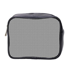 Classic Vintage Black And White Houndstooth Pattern Mini Toiletries Bag (two Sides) by Beachlux