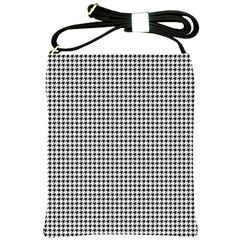 Classic Vintage Black And White Houndstooth Pattern Shoulder Sling Bag by Beachlux