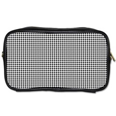 Classic Vintage Black And White Houndstooth Pattern Toiletries Bag (two Sides) by Beachlux