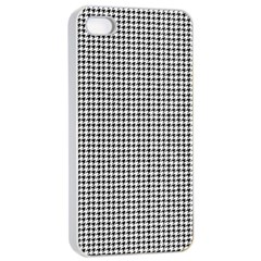Classic Vintage Black And White Houndstooth Pattern Apple Iphone 4/4s Seamless Case (white) by Beachlux