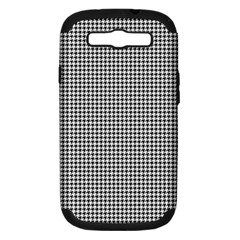 Classic Vintage Black And White Houndstooth Pattern Samsung Galaxy S Iii Hardshell Case (pc+silicone) by Beachlux