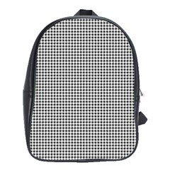 Classic Vintage Black And White Houndstooth Pattern School Bag (xl) by Beachlux