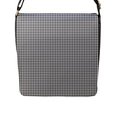 Classic Vintage Black And White Houndstooth Pattern Flap Closure Messenger Bag (l) by Beachlux