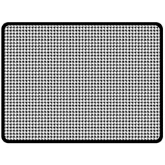 Classic Vintage Black And White Houndstooth Pattern Double Sided Fleece Blanket (large) by Beachlux