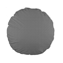 Classic Vintage Black And White Houndstooth Pattern Standard 15  Premium Flano Round Cushion  by Beachlux