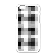 Classic Vintage Black And White Houndstooth Pattern Apple Iphone 6/6s White Enamel Case by Beachlux